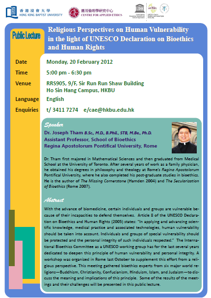 Hong Kong conference on Human Vulnerability